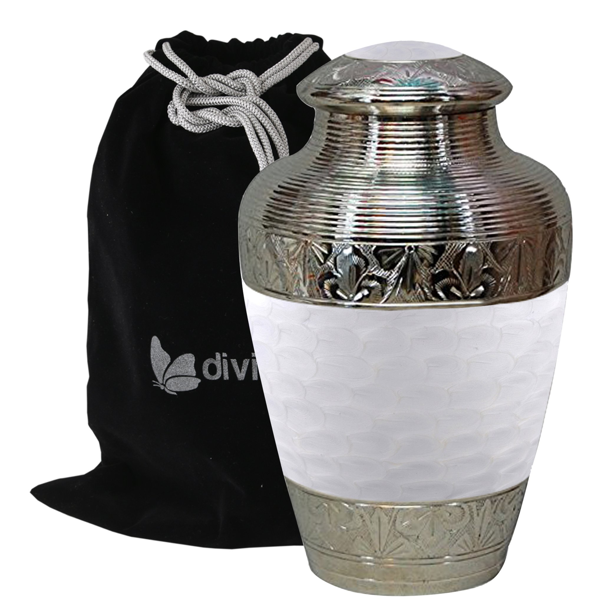 Solid Brass Athens Pearl White Cremation Urn - Adult Pearl White Funeral Urn Handcrafted - Affordable Urn for Human Ashes - Large Urn Deal by Divinityurns (Image #1)
