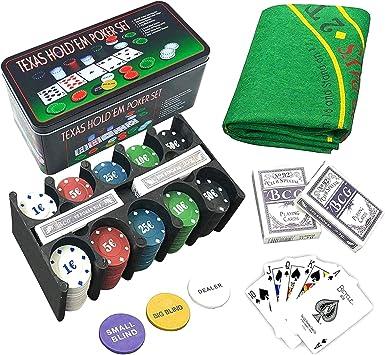 Hogaltia Juego de Póker Metal Set con 200 Fichas de Póker +100 Gratis, Tapete de Juego, 2 Barajas de Cartas, Botón Repartidor, Ciega Pequeña y Gran Ciega: Amazon.es: Juguetes y juegos