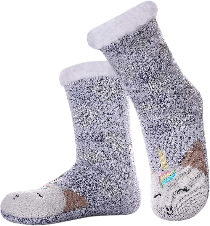 MIUBEAR Women Fuzzy Slipper Socks Animal Super Soft Winter Warm Fleece-lined Non Slip Christmas Home Socks