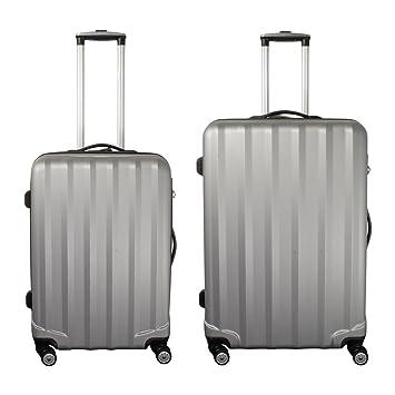 PMro-Trading Euro-Trading Santorin Suit Case 3 Pieces. Size - Set. Color- Silver Maleta. 78 cm. 50 Liters. Plateado (Silver): Amazon.es: Equipaje
