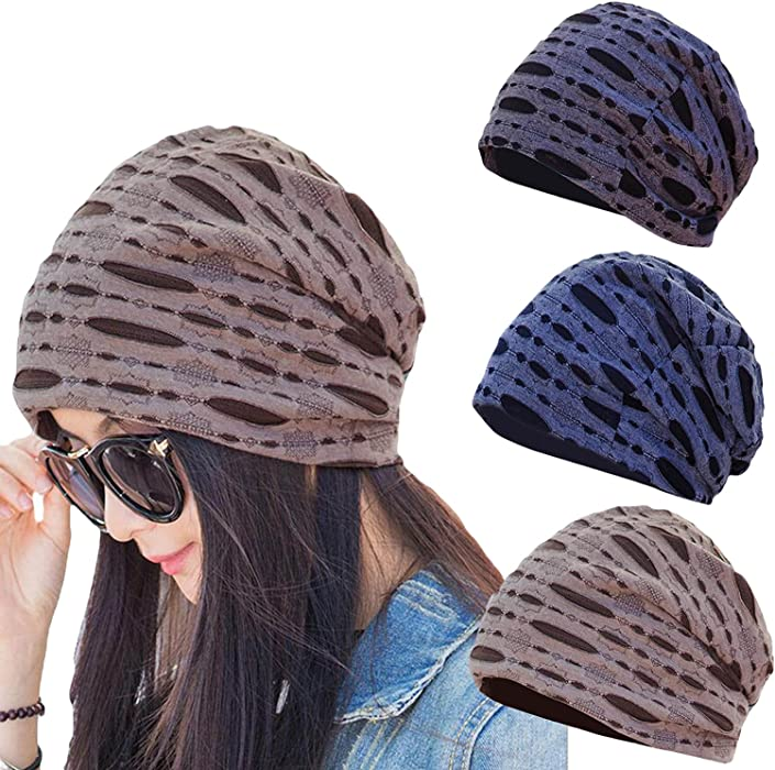 3 Packs Comfy Daily Hat Slouchy Casual Lined Stylish Broken Hole Chemo Cap  Thin Indoors Beanie For Autumn Coffee Navy Grey at Amazon Women s Clothing  store  78b8dc0bb680