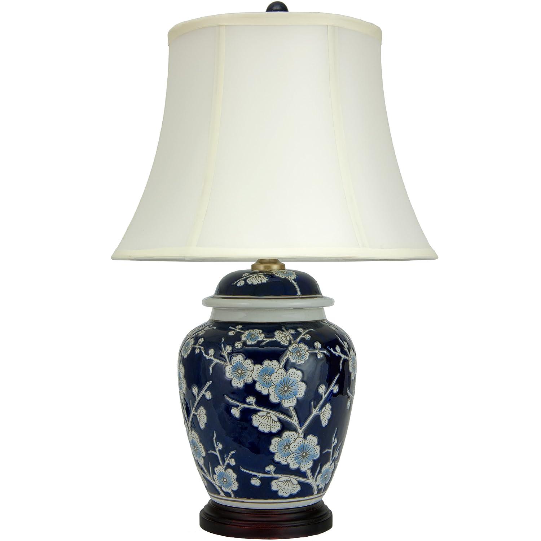 Amazon Com Oriental Furniture 22 Blue Cherry Blossom Lamp Home