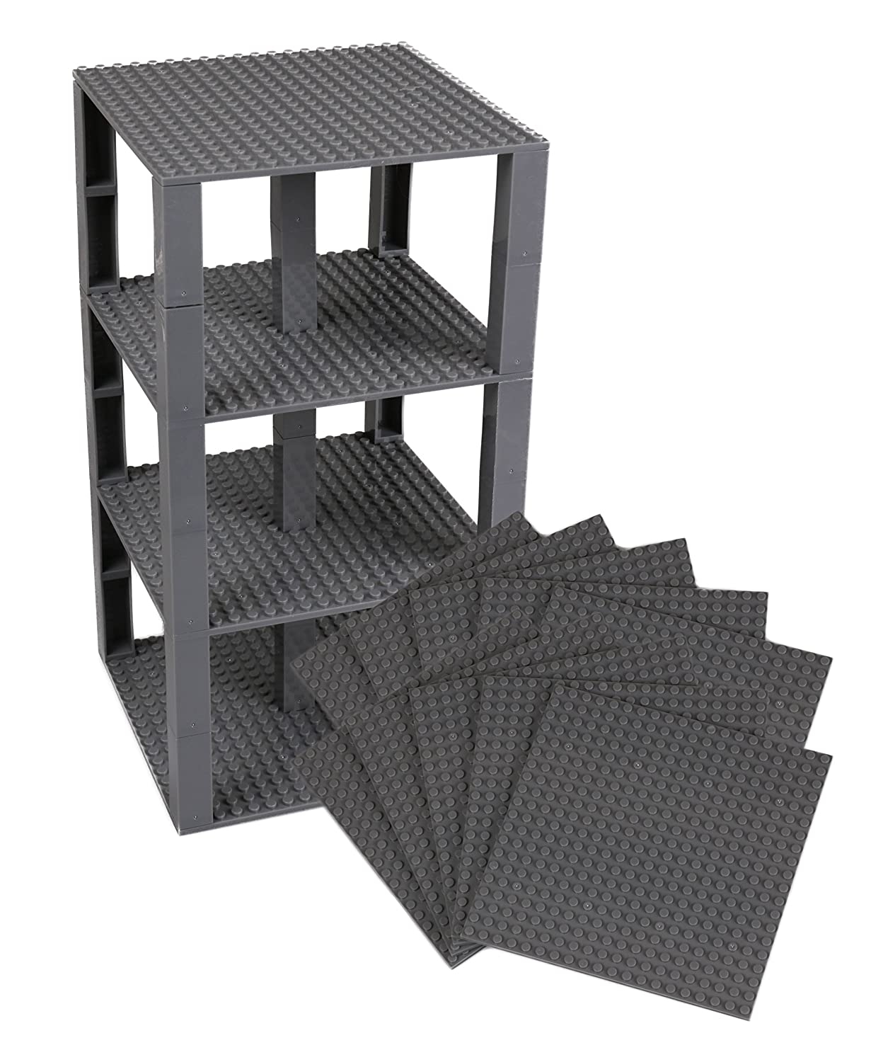 Premium Charcoal Gray Stackable Base Plates - 10 Pack 6' x 6' Baseplate Bundle with 80 New and Improved 2x2 Stackers - Compatible with All Major Brands - Tower Construction Strictly Briks
