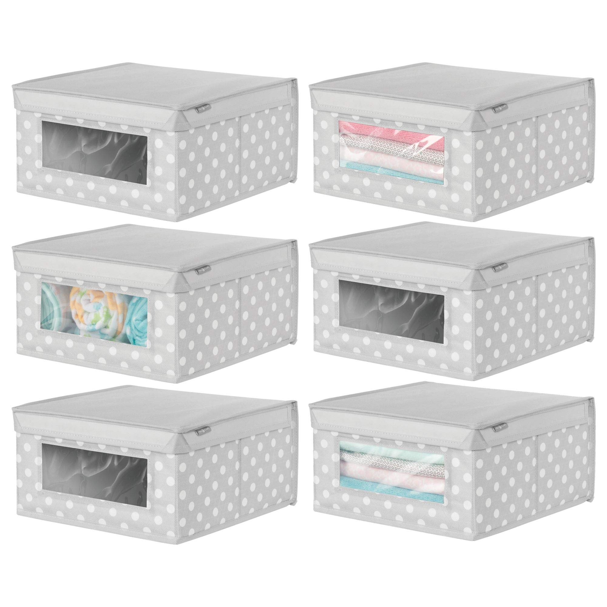 mDesign Soft Stackable Fabric Closet Storage Organizer Holder Box - for Child/Toddler Kids Room, Nursery Clothes Organization - Polka Dot - Medium, 6 Pack, Light Gray with White Dots