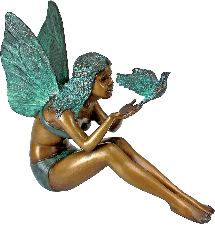 Design Toscano MP9222 Bird Fairy Cast Bronze Garden Statue, Two Tone Bronze & Verdigris