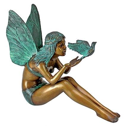 Lovely Design Toscano Bird Fairy Garden Statue, Cast Bronze