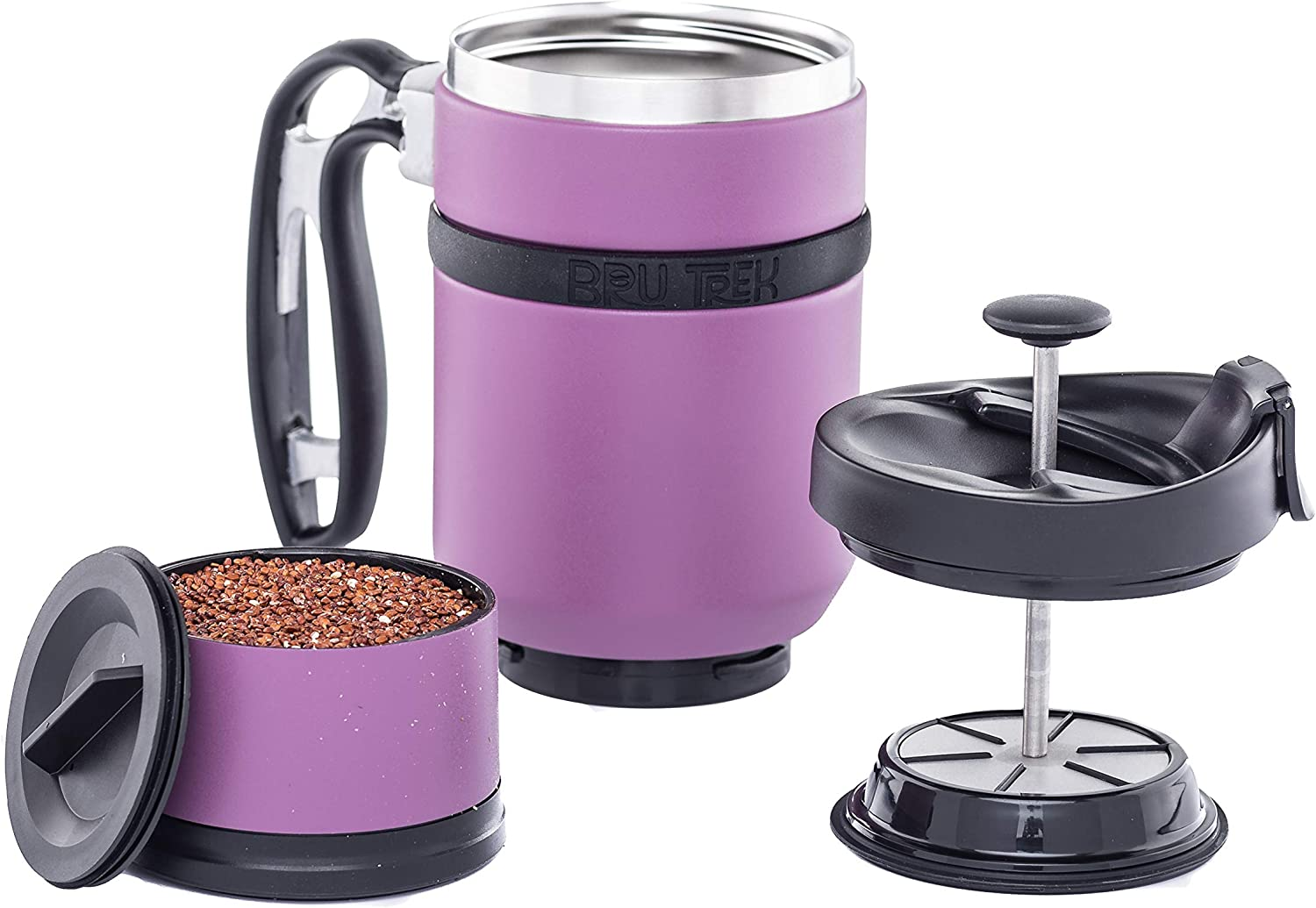 French Press with Br/ü-Stop Technology Candy Apple Red 20oz 2 Spill Proof Lids Desk Press Coffee Travel Mug