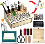 447 Pieces Leather Working Tools and Supplies with Instruction, Leathercraft Tools