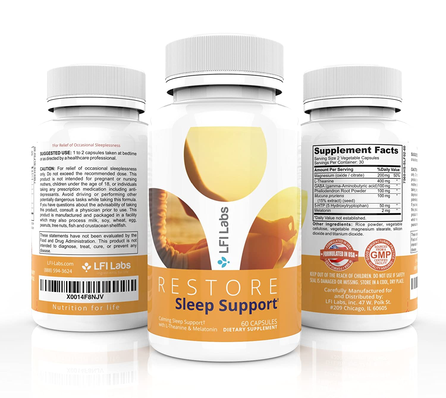 Amazon.com: Natural Melatonin Sleep Aid Supplement – with L-Theanine, 5 HTP & Antioxidants – Sleeplessness Support for Men & Women, Helps Soothes, ...