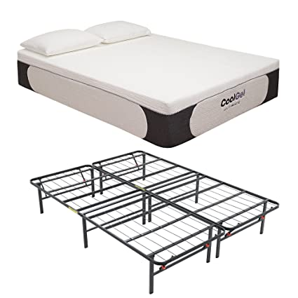 on sale 91204 08f2a Classic Brands Cool Gel Ultimate Gel Memory Foam 14-Inch Mattress with  Hercules Heavy-Duty 14-Inch Platform Metal Bed Frame and BONUS Pillow, Twin  XL