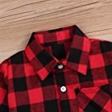 Kids Little Boys Girls Baby Long Sleeve Button Down Red Plaid Flannel Shirt Plaid Girl Boy NB-6T