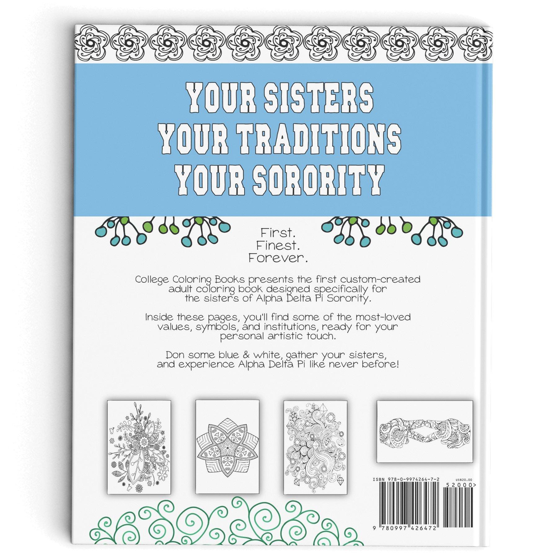 Alpha Delta Pi Adult Coloring Book College Books 9780997426472 Amazon