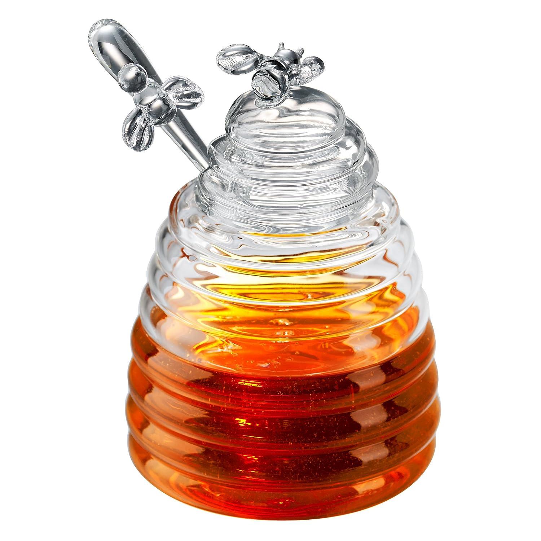 Honey Bees Glass Honey Pot, Transparent Artland 42010