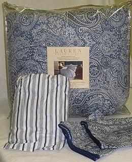 Lauren By Ralph Lauren Townsend Blue Paisley 4 Piece QUEEN Comforter Set