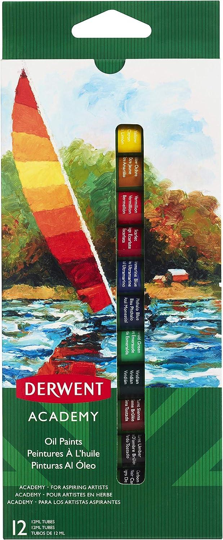 DERWENT 2302406 - Pack de 12 tubos pintura óleo de 12ml: Amazon.es: Oficina y papelería