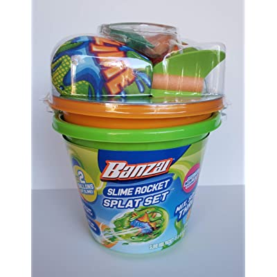 BANZAI Slime Rocket Splat Set - Includes 2 Slime Buckets and 2 Rockets: Toys & Games
