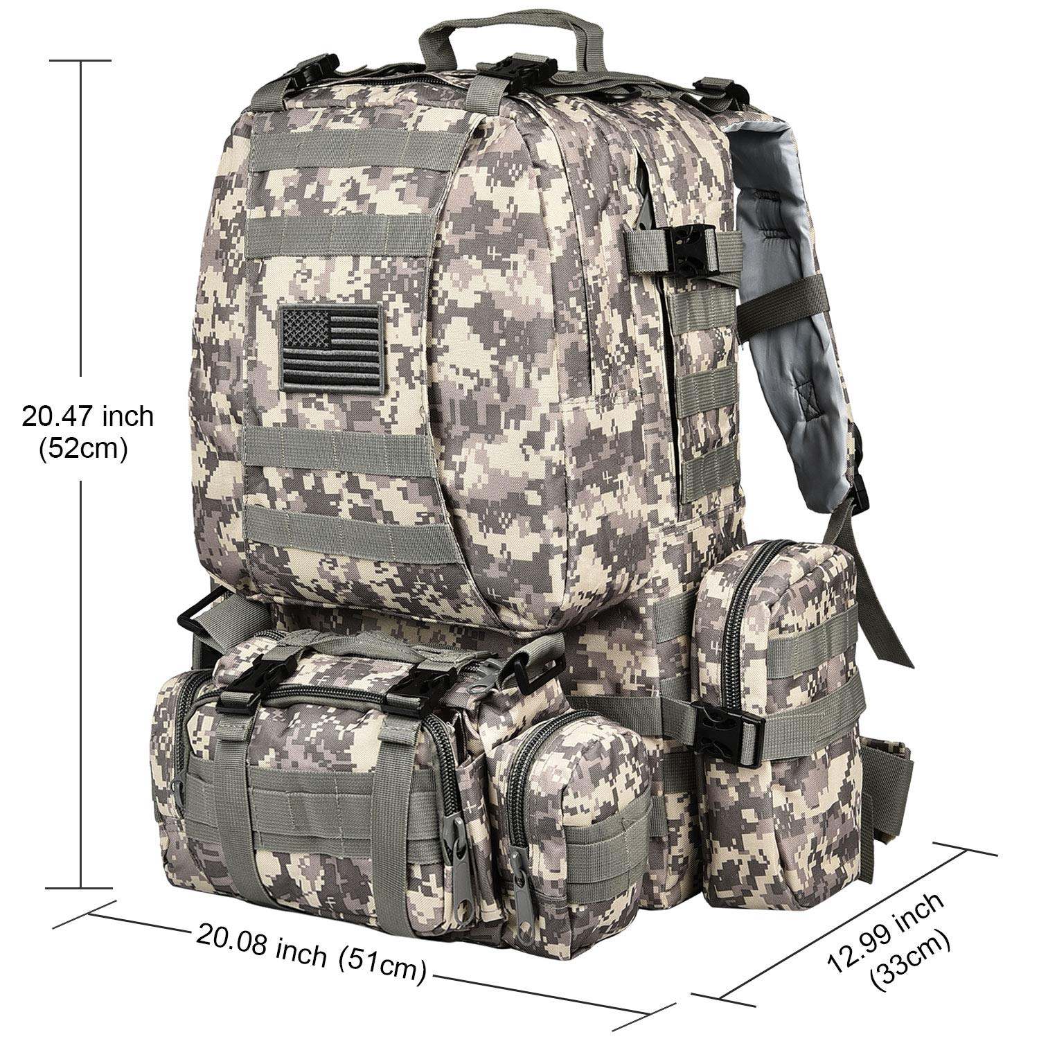 CVLIFE Tactical Military Backpack 60L Built-up Army Rucksacks Outdoor 3 Day Assault Pack Combat Molle Backpack for Hunting Hiking Fishing with Flag Patch Camouflage ACU by CVLIFE (Image #2)