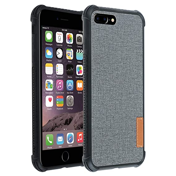 buy online 683a5 e0a31 Co-Goldguard iPhone 7 Plus iPhone 8 Plus Case Fabric Cover Full Protection  Shockproof Scratch Resistant Anti-Fingerprint Cloth Shell Slim Fit for ...