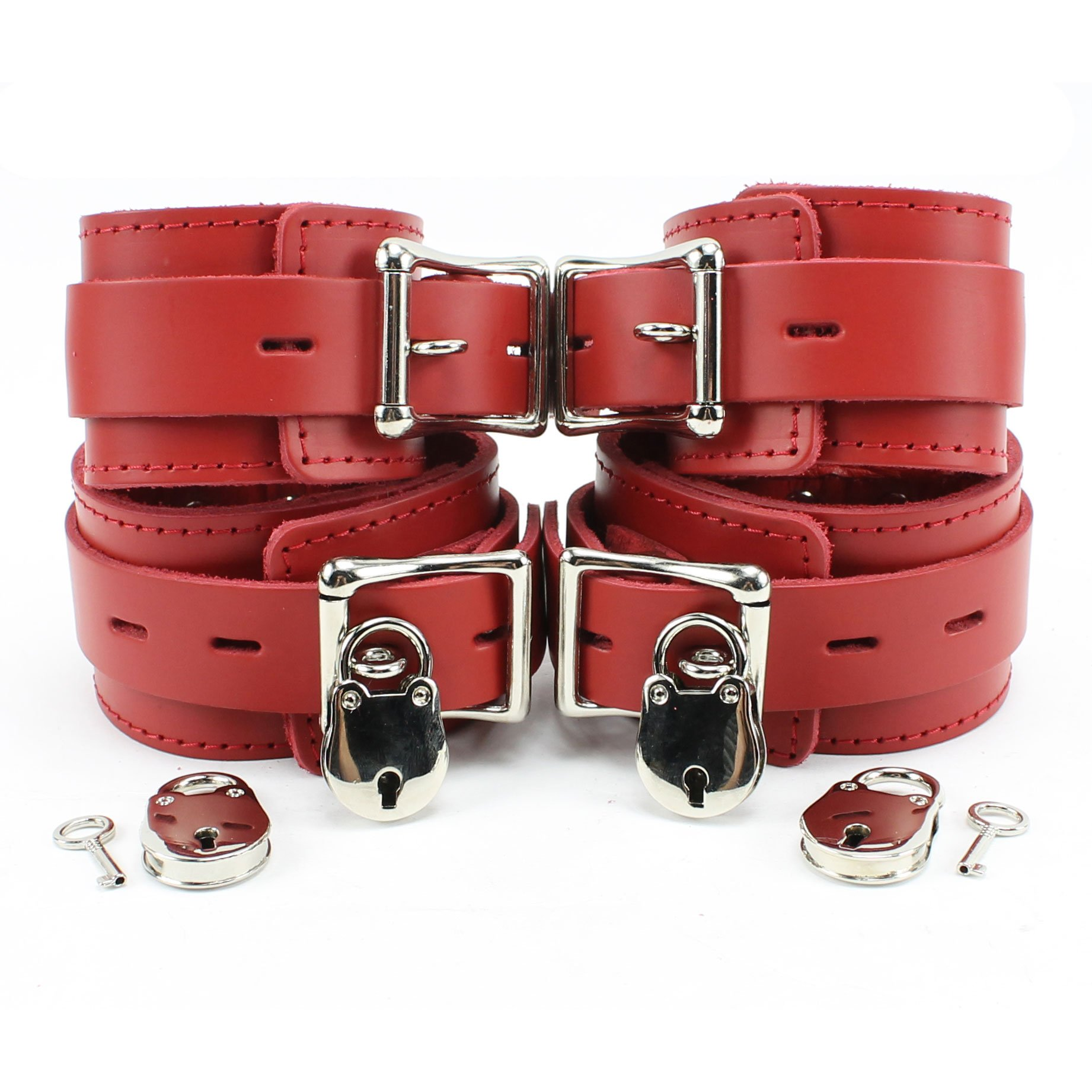Atlanta Wrist and Ankle Lockable Cuffs Combo Ultra Soft Lambskin Leather (Red) by VP Leather