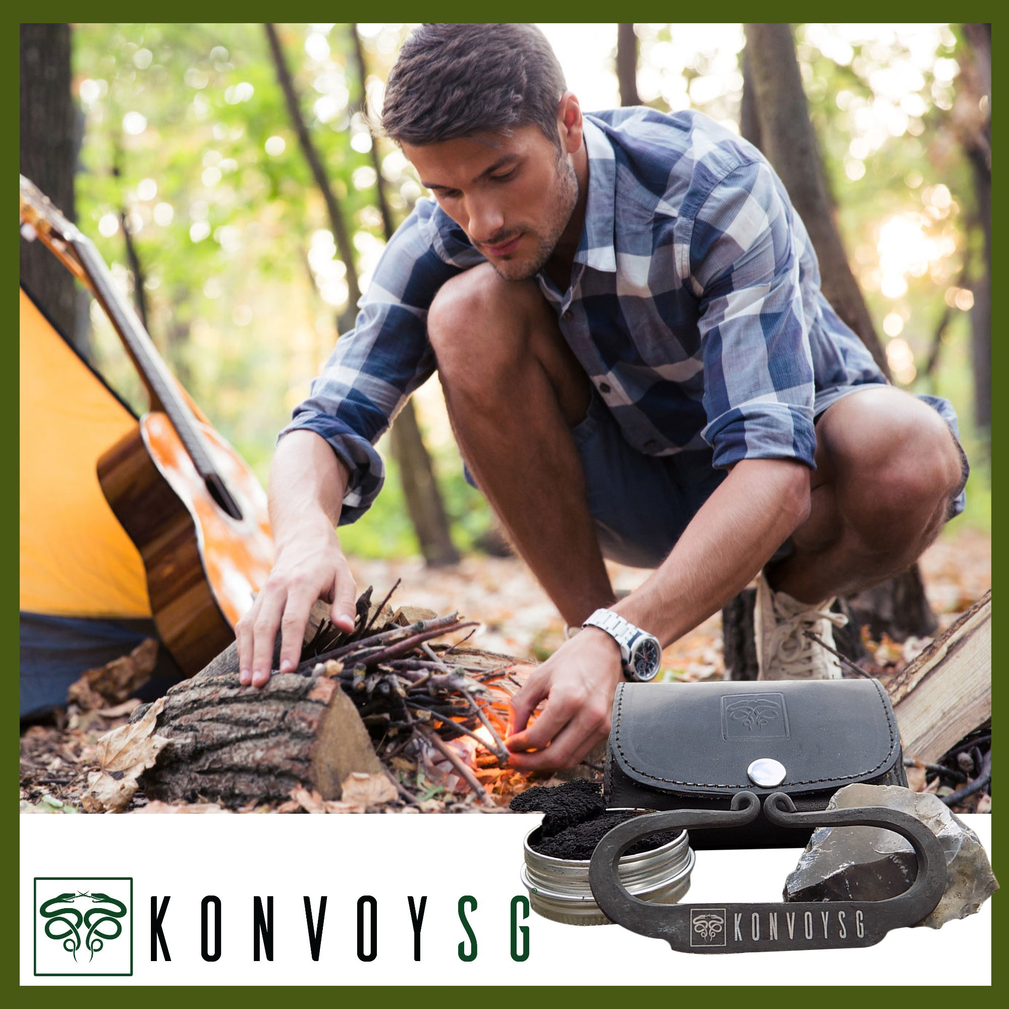KonvoySG Flint and Steel Kit. Fire Striker, English Flint Stone & Char Cloth Traditional Hand Forged Fire Starter with a Leather Gift Pouch and Emergency Tinder Jute Bag (Black) by KonvoySG (Image #2)