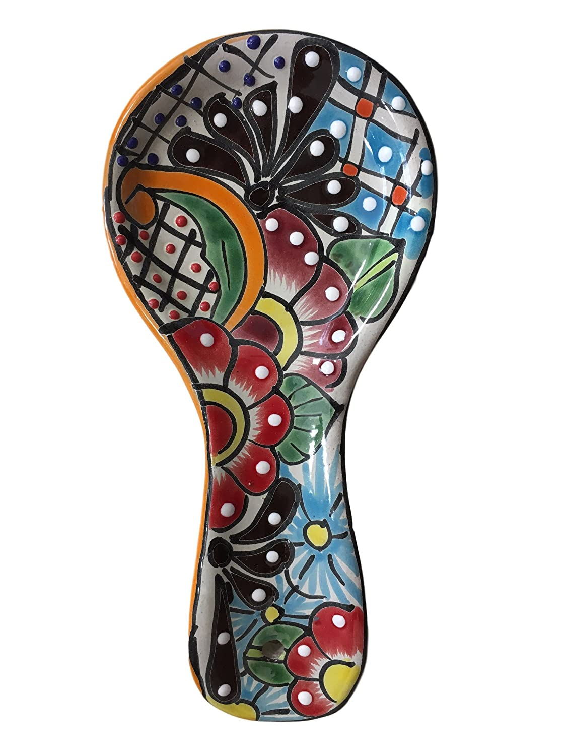 Colorful Kitchen Ceramic Spoon Rest - Hand Painted - Mexican Style Casa Fiesta Designs