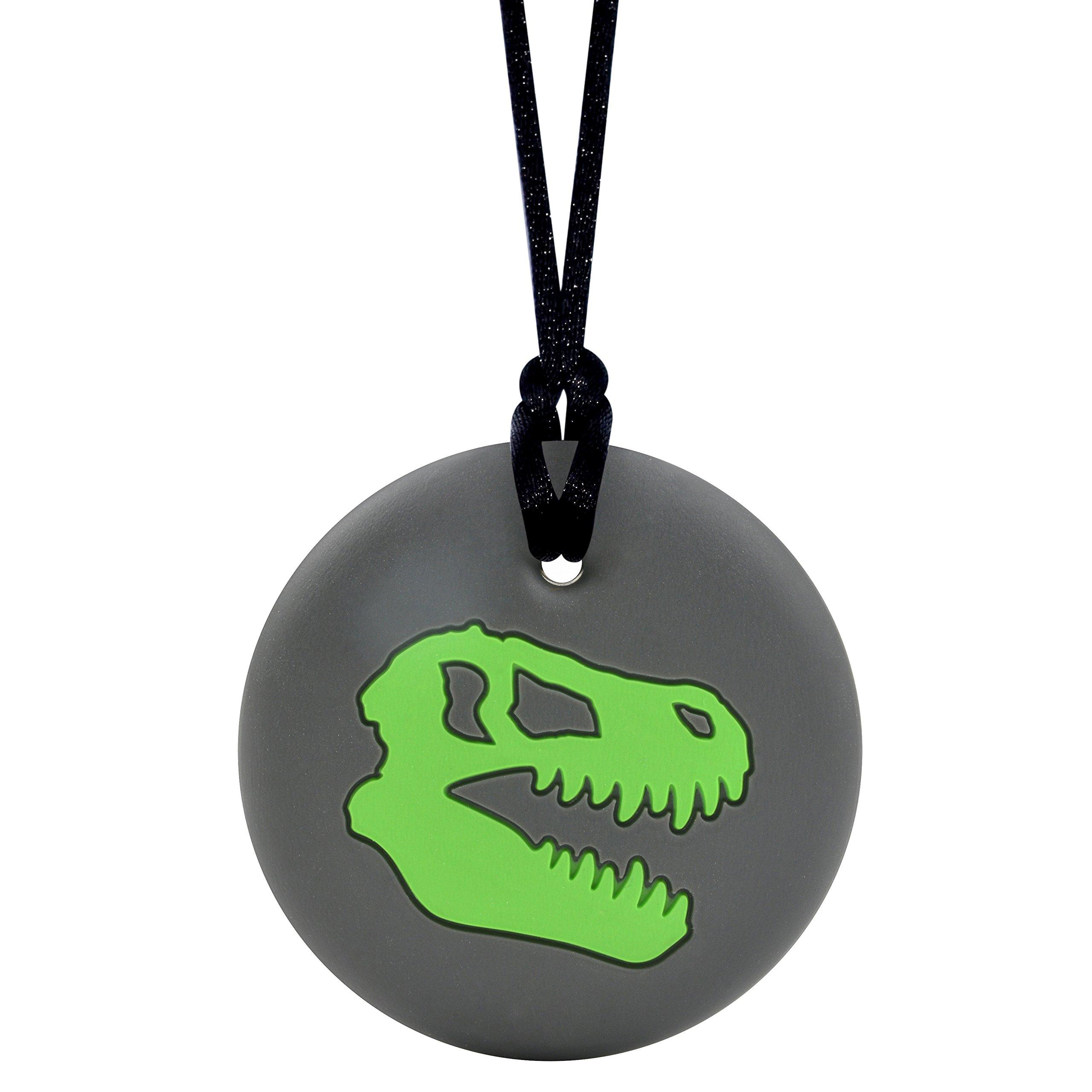 Dinosaur Skull Sensory Chewelry - Munchables Chew Necklace (Green)