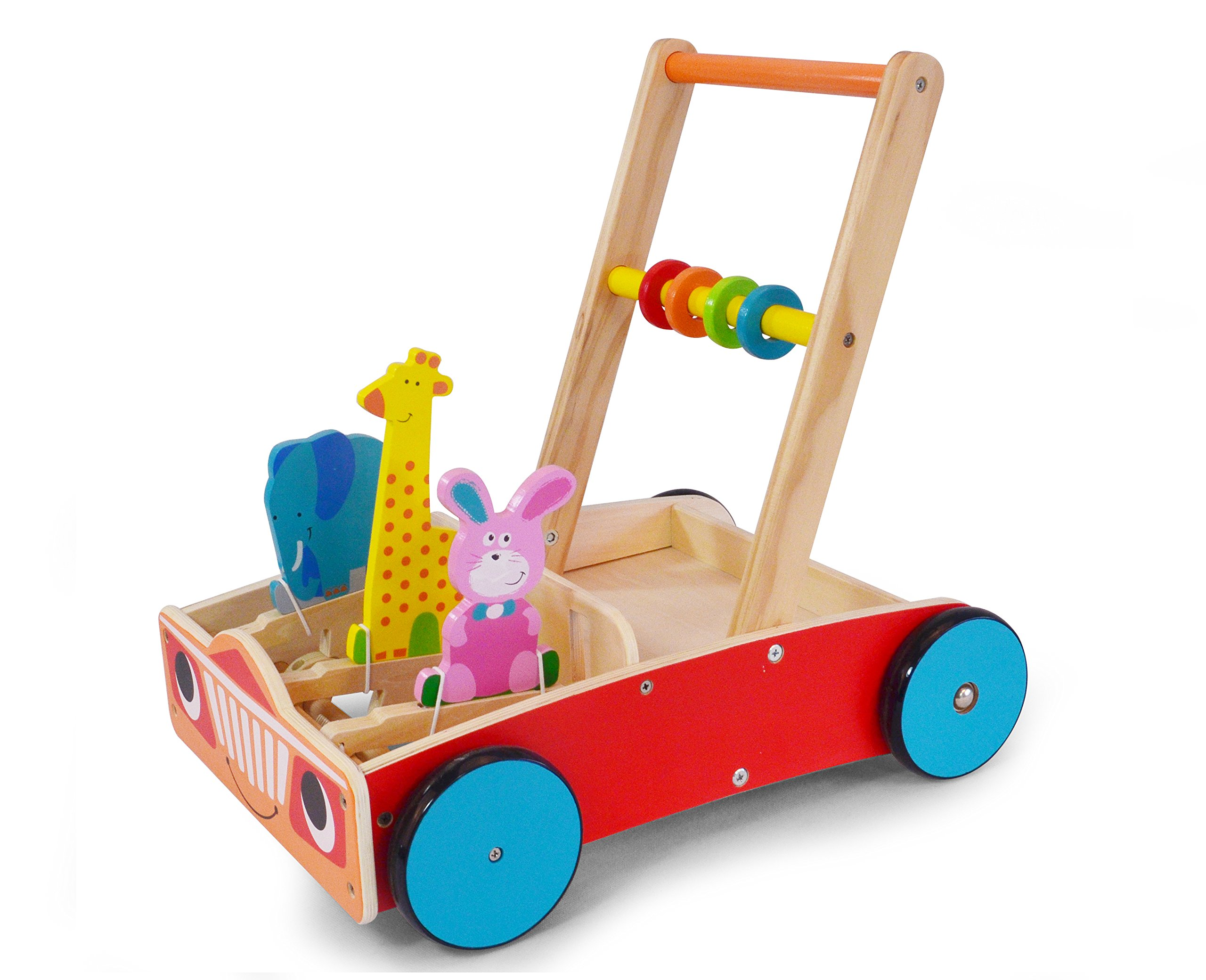 May & Z Baby Push Toy Walker - Wooden Walking Wagon with Gift of Building Blocks and Cartoon Animals for Toddlers