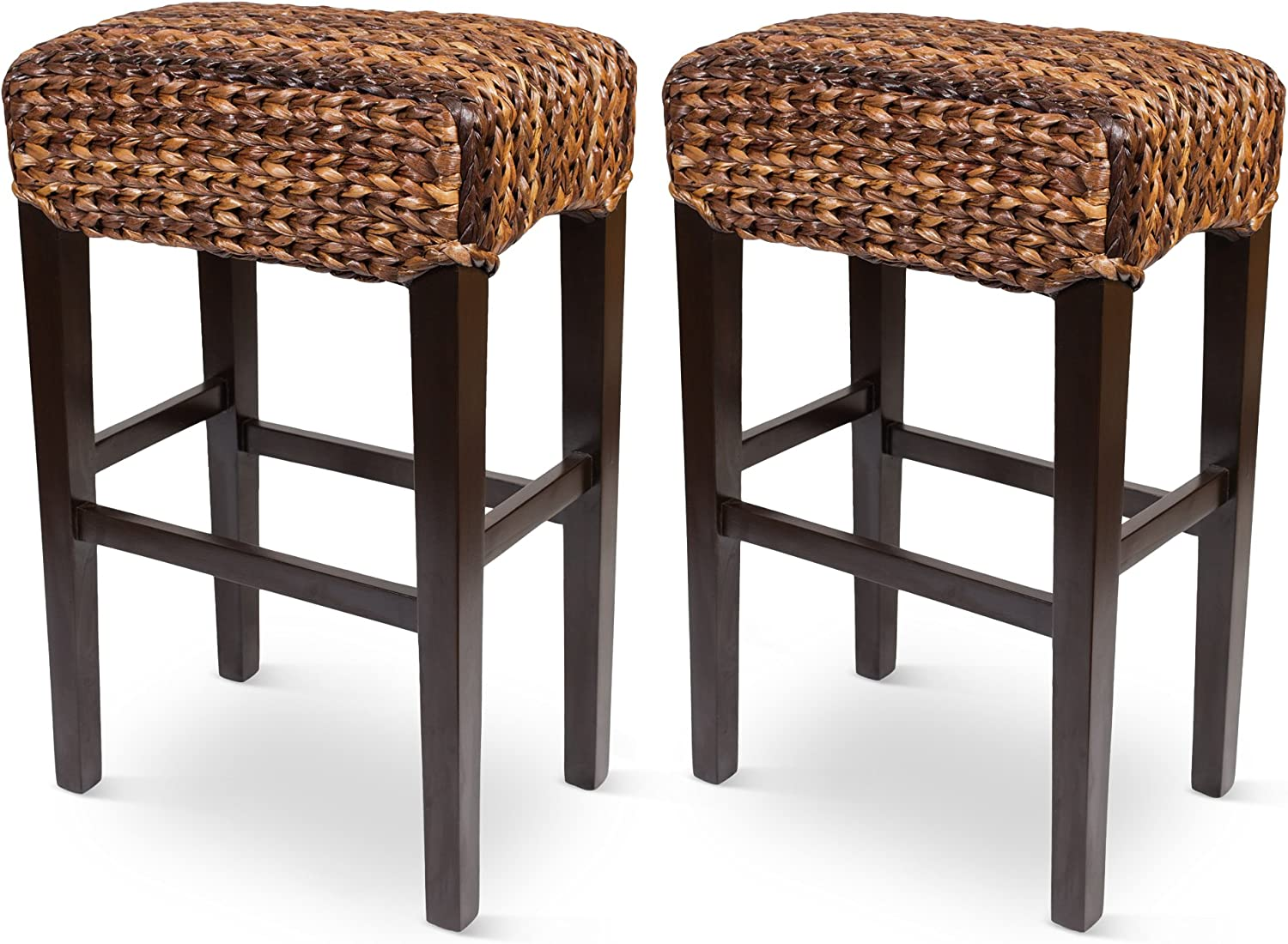 Bird Rock Hand Woven Seagrass Backless Barstool Bar Height – Set of 2 – Mahogany Wood Frame – Fully Assembled