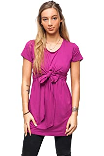 9fe7c7a788c sofsy Soft-Touch Rayon Blend Tie Front Nursing Top Maternity Fashion Top