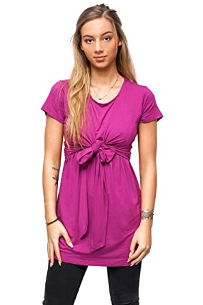 76a161425e9 sofsy Soft-Touch Rayon Blend Tie Front Nursing   Maternity Fashion Top  Berry Small