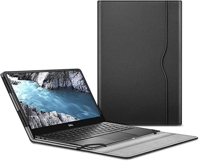 """Fintie Sleeve Case for 13.3"""" Dell XPS 13 9370 9360 9350 9343 - Premium PU Leather Protective Portfolio Book Cover Compatible with Dell XPS 13 2 in 1 9365, Black"""