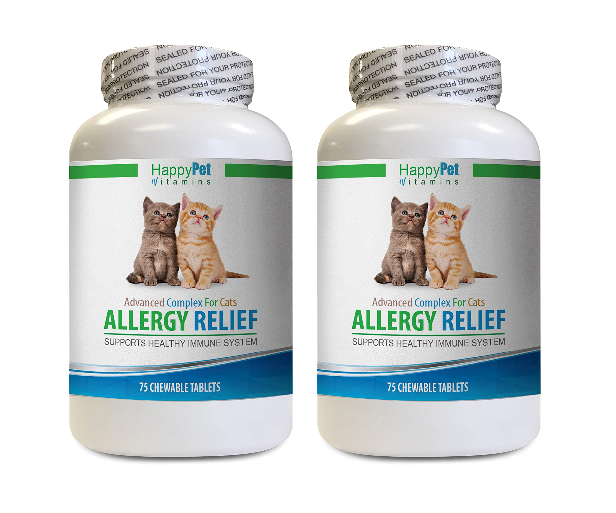 HAPPY PET VITAMINS LLC cat Skin Infection - CAT Allergy Relief - Supports Immune System - Vet Recommended - Itch Relief - cat itching Relief - 2 Bottles (150 Chew Tablets) by HAPPY PET VITAMINS LLC