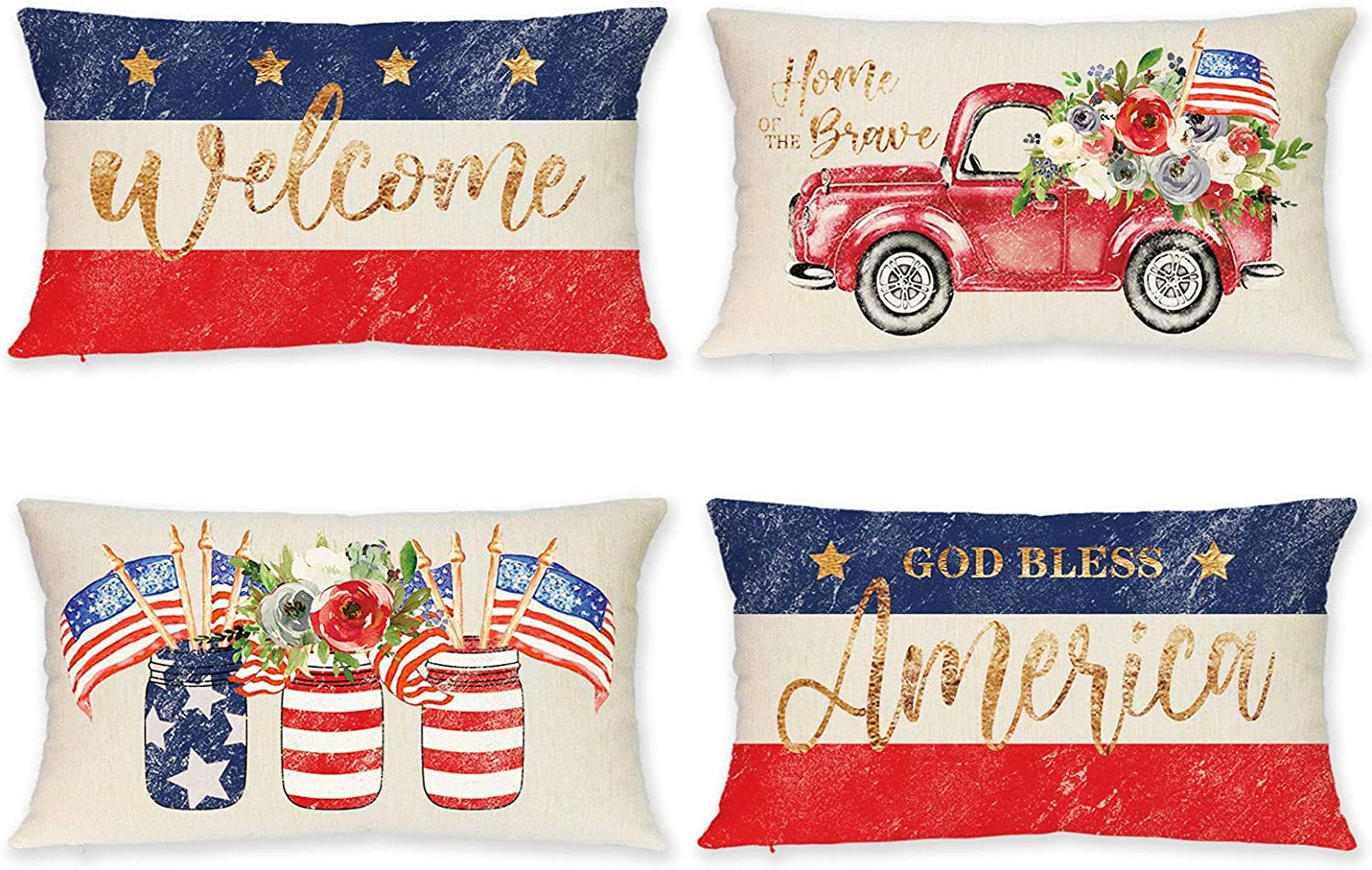 Patriotic Pillow Cover 12 X 20 Inch, Set of 4 Lumbar 4th of July Pillow Covers, Blue Red White Stripes & Stars American Flag Floral Truck Decorative Pillow Cases for Independence Day Home Decor