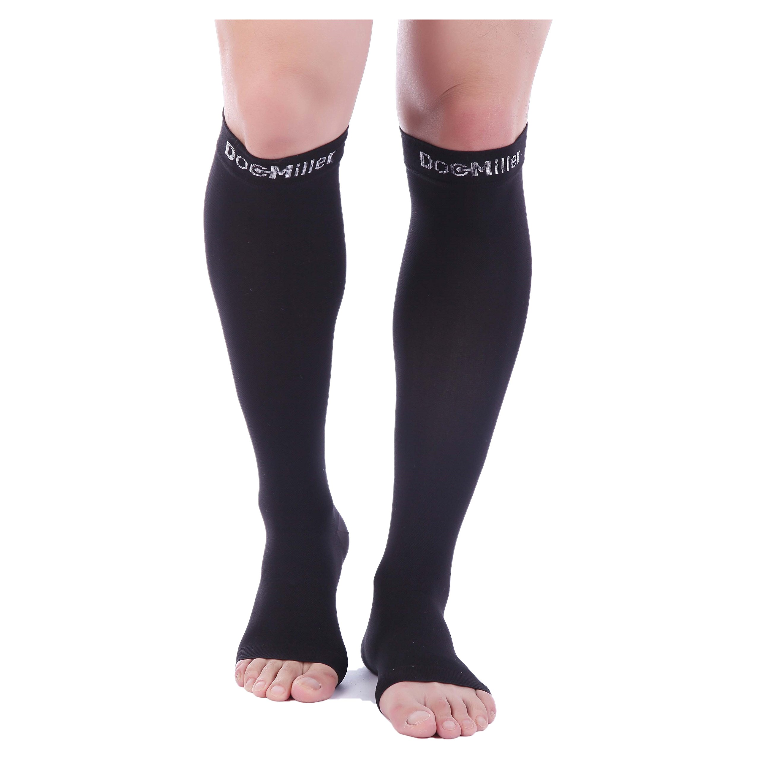 Doc Miller Premium Open Toe Compression Sleeve 1 Pair 20-30mmHg Strong Calf Support Graduated Pressure for Sports Running Muscle Recovery Shin Splints Varicose Veins (2-Pack, Black, Small)
