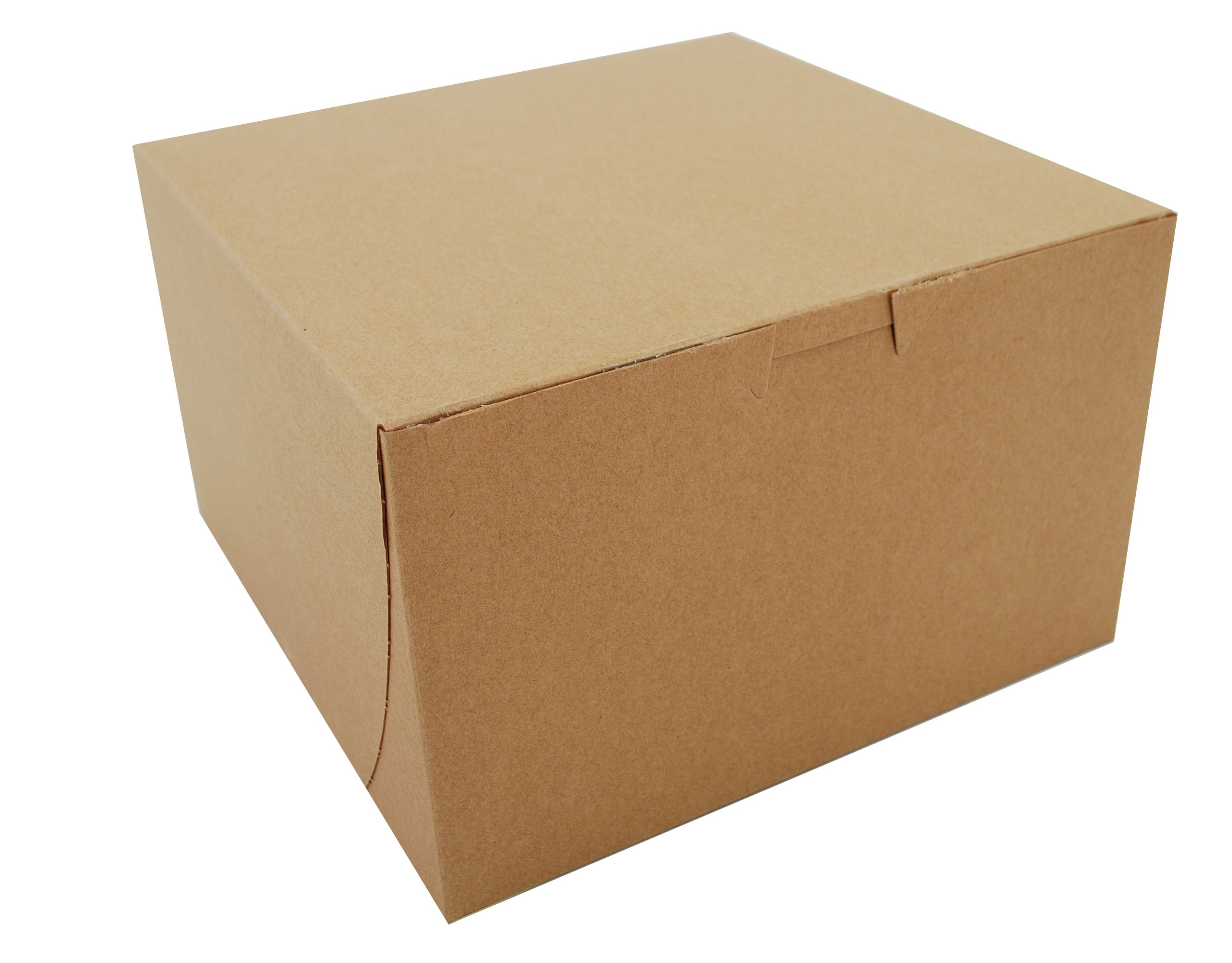 Southern Champion Tray 09455K Kraft Paperboard Non Window Lock Corner Bakery Box, 8'' Length x 8'' Width x 5'' Height (Case of 100)