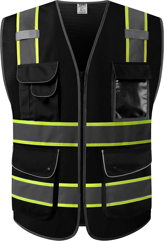 JKSafety 9 Pockets High Visibility Zipper Front MESH Black Safety Vest | Black with Dual Tone High Reflective Strips | ANSI/ISEA Standards (Mesh-Black, Medium)