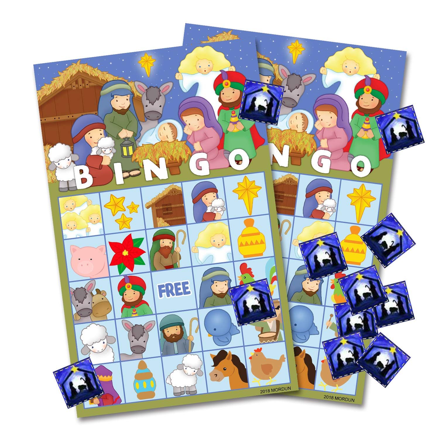 Religious Christmas Cards For Kids.Christmas Nativity Bingo Game Cards For Kids 24 Players Preschool Activity Religious Party Game For Classroom Family