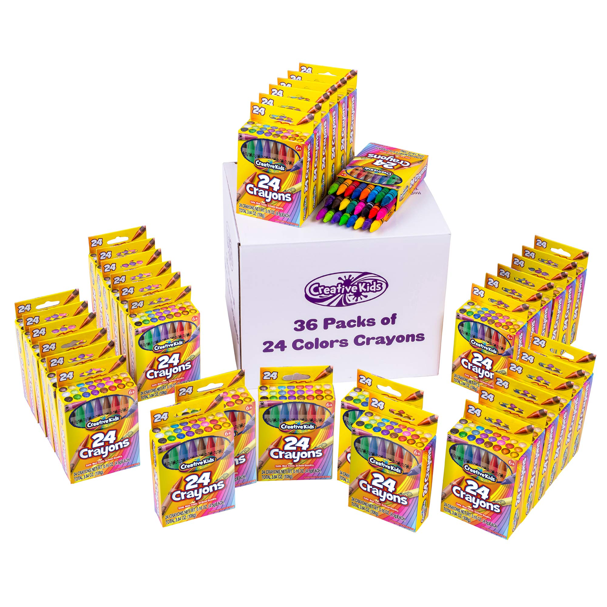 Creative Kids Bulk Crayons Classroom Classpacks Sets - 36 Packs of 24 Assorted Wax Coloring Crayons For Party Favors Preschool, Kindergarten, School & Art Crafts Supplies - ASTM Non Toxic