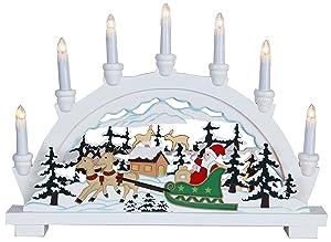 Christmas Star 270-59 German, con 10 lampadine chiare Babbo Natale in slitta, colore: bianco, dimensioni 33 x 45 cm