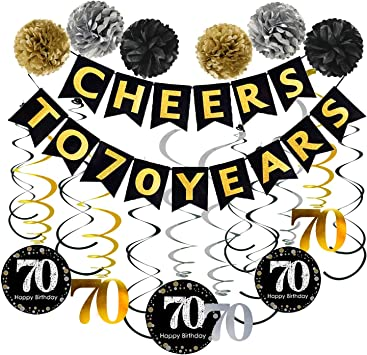70th Birthday Party Decorations Pack - Cheers to 70 Years Banner,Poms, Sparkling Celebration 70 Hanging Swirls for 70 Years Old Party Supplies 70th ...