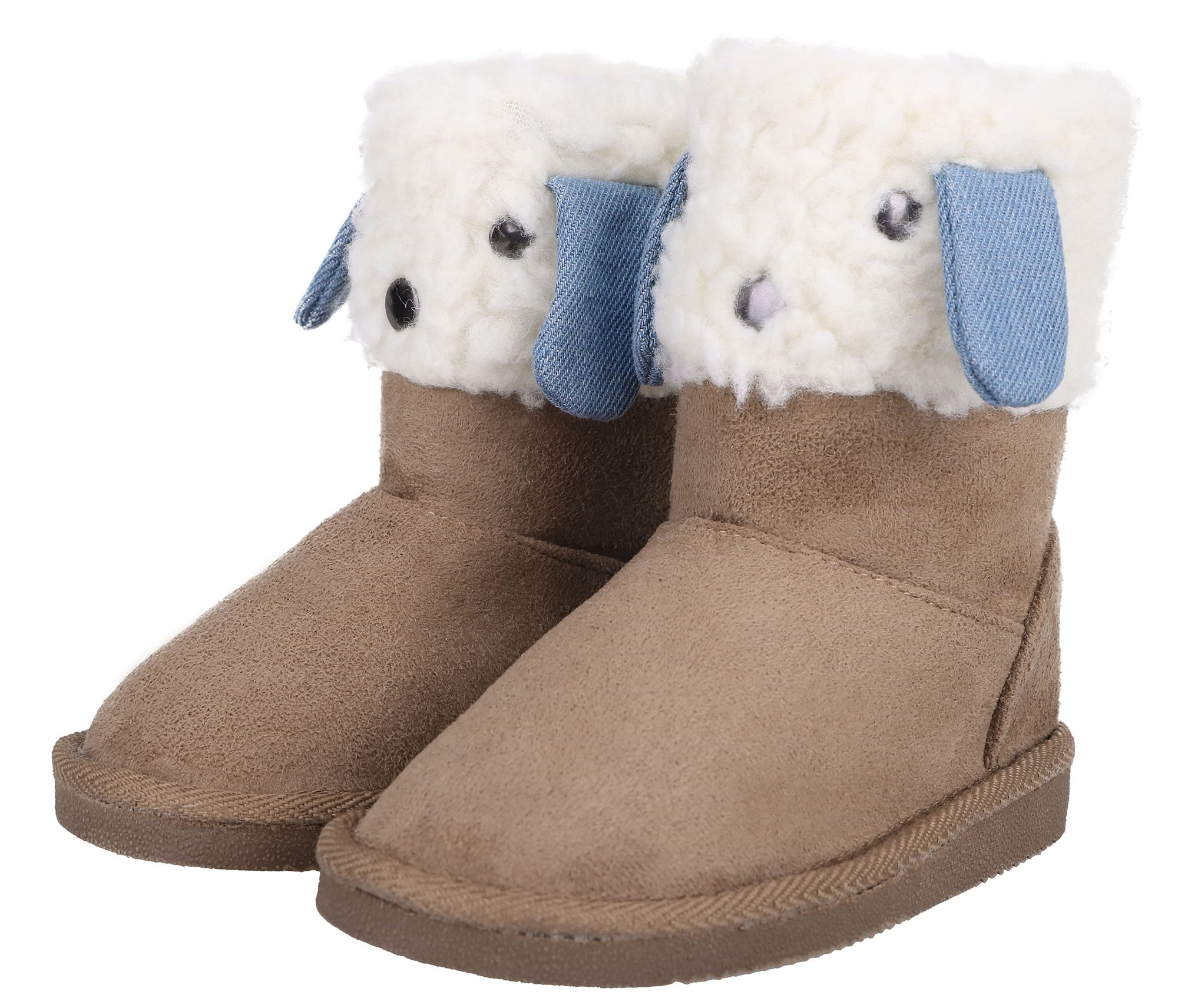 Toddlers Winter Sherpa Lined Boots Boys/Girls Animal Snow Shoes,Cream Size 11