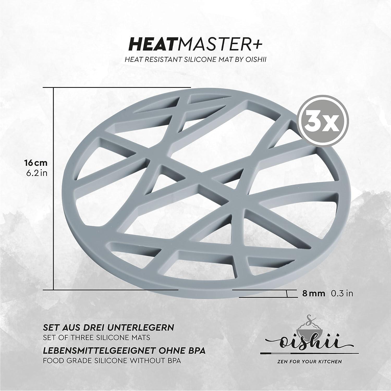 ronda Oishii Heatmaster+ Conjunto de 3 salvamanteles resistente al calor color gris