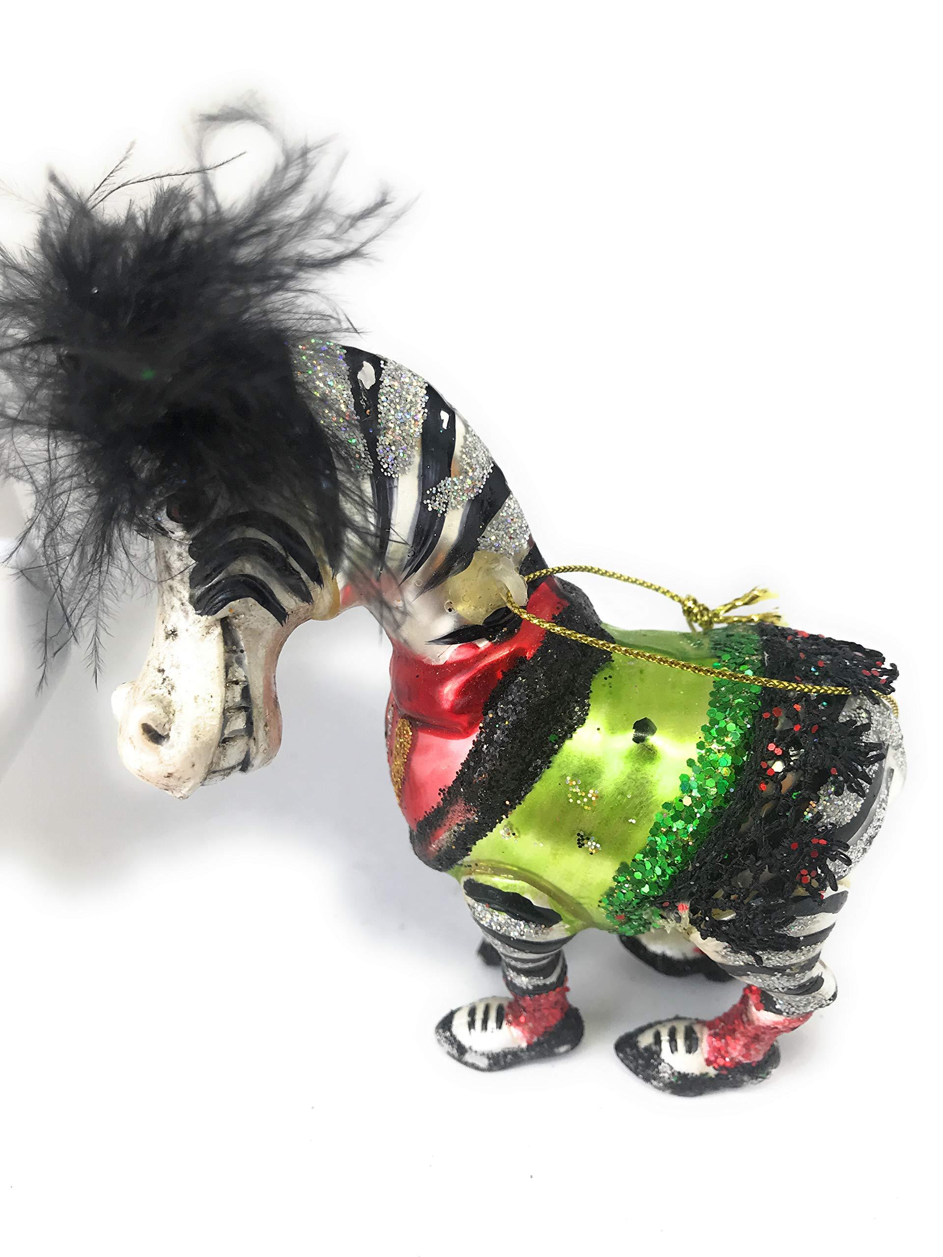 Noel Rue Christmas Tree Ornament Hand Blown Glass Zebra Ballet Funky