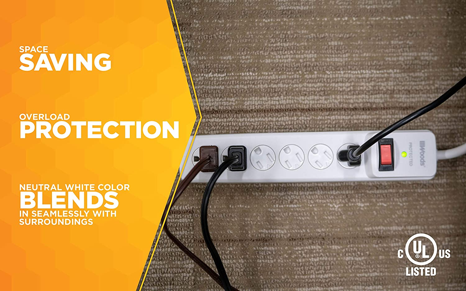 Amazon.com: WOODS WIRE SOUTHWIRE 41497 Surge Protector With Safety Overload Feature 6 Outlets For 900J Of Protection 3-Foot Cord White: Home Improvement