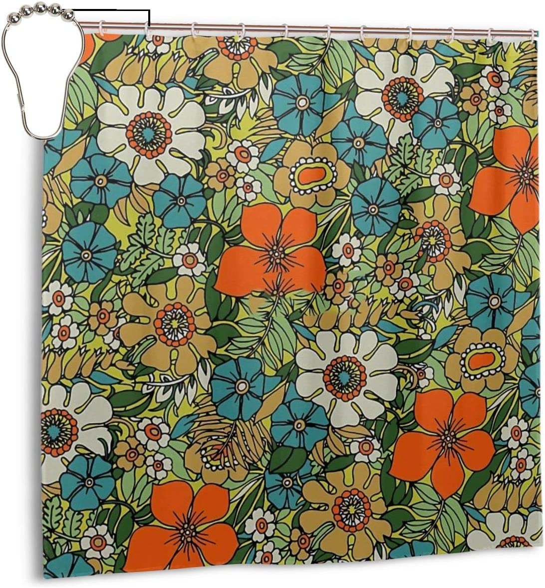 Noick 70s Plate Boutique Shower Curtain Hooks Polyester Home Decor 72x72inch
