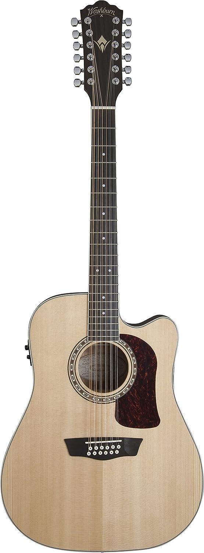 Washburn HD10SCE12 Heritage 10 Series Guitarra acústica de 12 cuerdas, natural