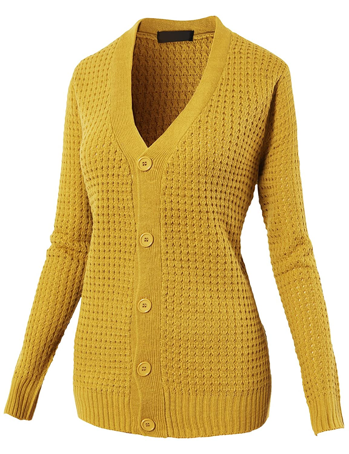 H2H Womens Comfy Button Down Long Sleeve Basic Knitted Cardigan Sweater