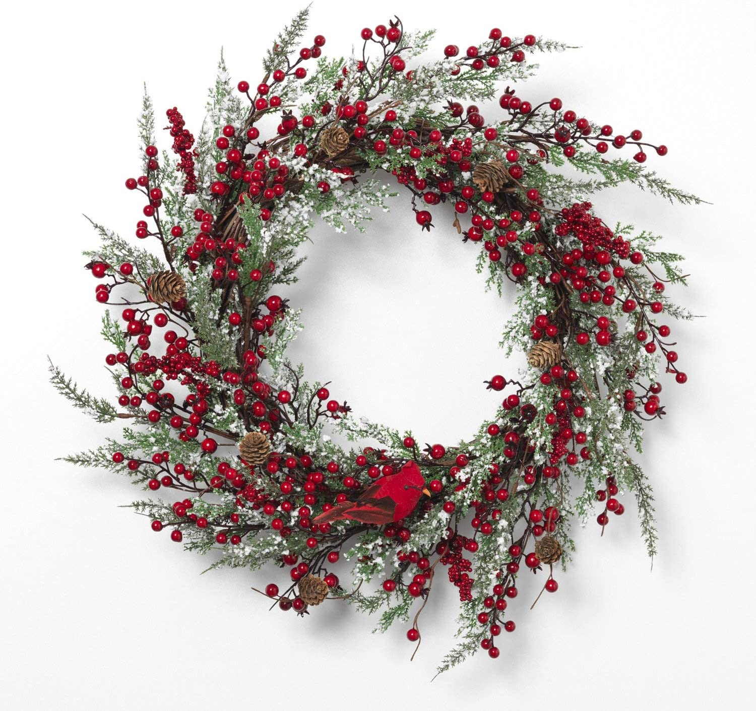 24-Inch Rustic Red Berry and Snowy Greenery Holiday Wreath with Cardinal for Front Door - Hanging Christmas Decoration - Winter Home Decor