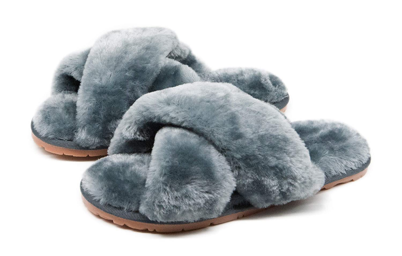 Women's Fuzzy Crossband Fluffy Furry Fur Slippers Flip Flop Winter Warm Cozy House Memory Foam Sandals Slides Soft Flat Comfy Anti-Slip Spa Indoor Outdoor Slip on