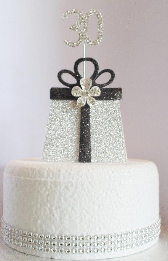 30 Geburtstag Kuchen Dekoration Geschenk Silber Und Schwarz Mit